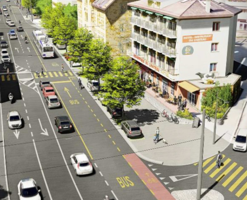Vue de l'aménagement du carrefour de Paudex en simulation 3D
