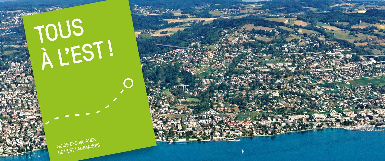 Couverture de la brochure Tous à l'est superposée sur une vue aérienne de l'est lausannois