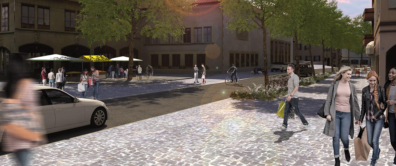 Vue du début de la Rue de la Poste, côté Prieuré, en simulation 3D