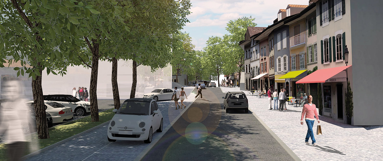 Vue de la Rue de la Poste en simulation 3D